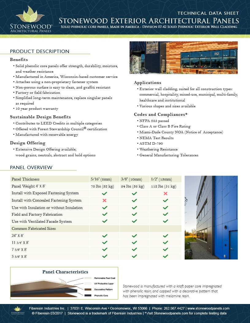 Product Data Sheet Stonewood Architectural Exterior Panels thumb